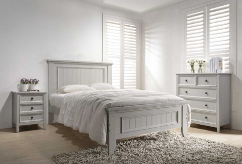Mila Panelled Bed 4' - Taupe