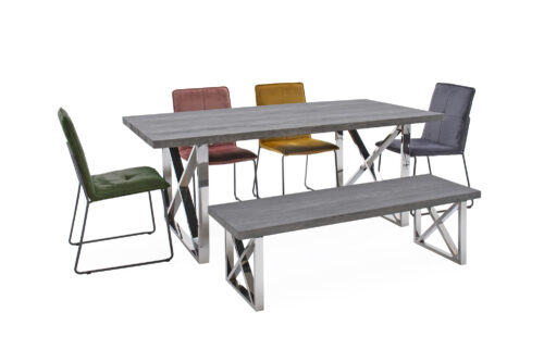 Tephra 1900 Dining Table & Bench & 4 Soren Chairs Straight
