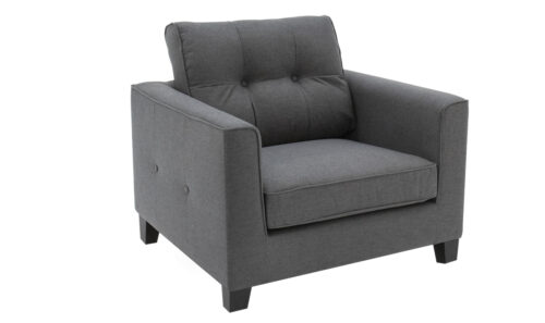 Astrid 1 Seater Charcoal - Angled