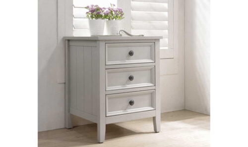 Mila Bedside Table - 3 Drawer Taupe