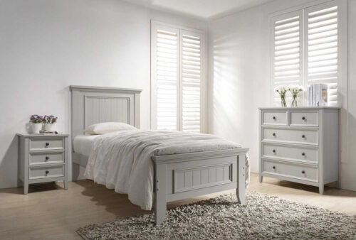 Mila Panelled Bed 3' - Taupe