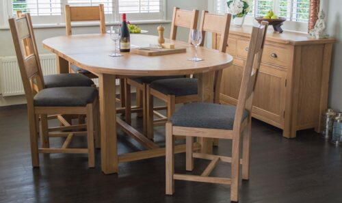 breeze extending oval table grey fabric
